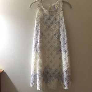 Francesca's white/purple lace straight dress